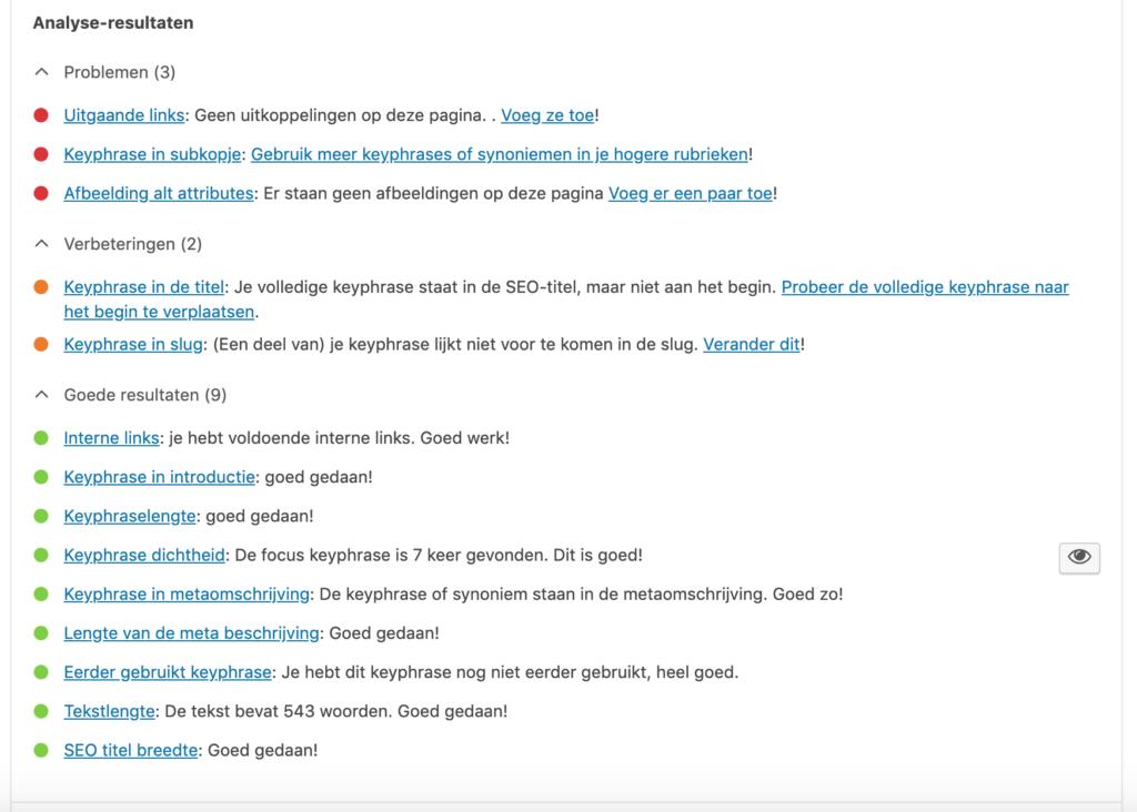 Yoast plug-in voor zoekmachine optimalisatie in WordPress