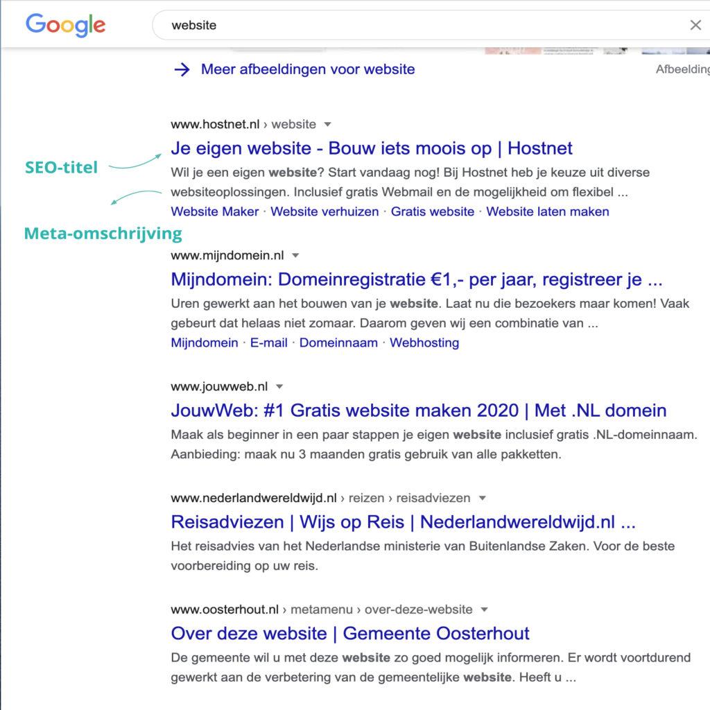 Zoekresultaten Google