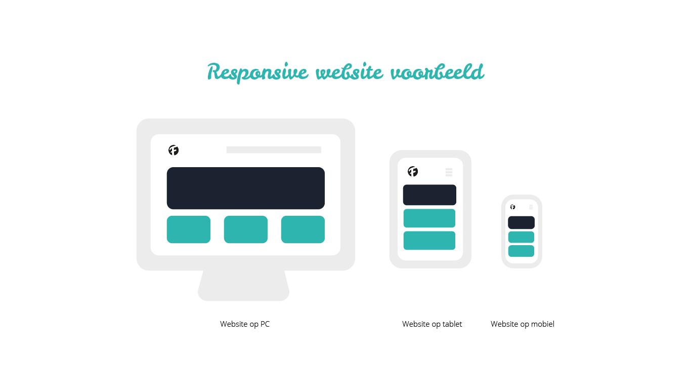 Een voorbeeld van een responsive website afgebeeld op een pc, tablet en mobiele telefoon